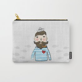 Lovely Bearded Sailor Man Illustration Carry-All Pouch