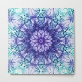 Purple Blue Abstract Flower Metal Print