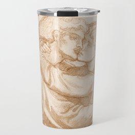 "Dante Gabriel Rossetti ""Study of two Lovers embracing"" Travel Mug"