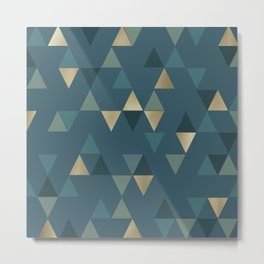 Boho, Geometric Abstract Pattern, Teal and Gold Metal Print