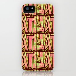 Pink and green abstract urban graffiti inspired modern pattern iPhone Case
