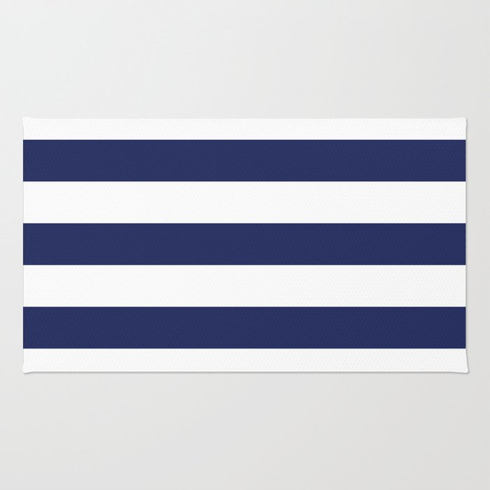Navy Blue And White Stripes Rug By Amybrinkman Society6
