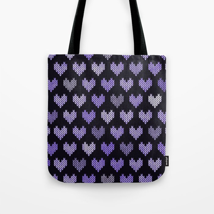 Colorful Knitted Hearts V Tote Bag