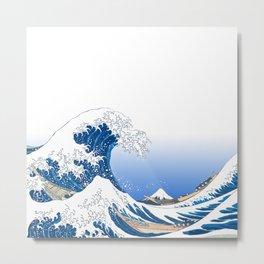 The White Version Of The Great Wave Off Kanagawa - Hokusai's (Edo, Japan) Metal Print