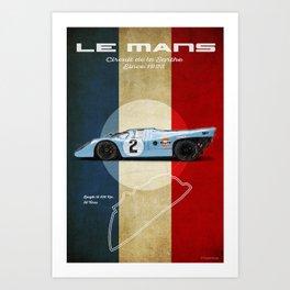 Le Mans Racetrack Vintage Art Print