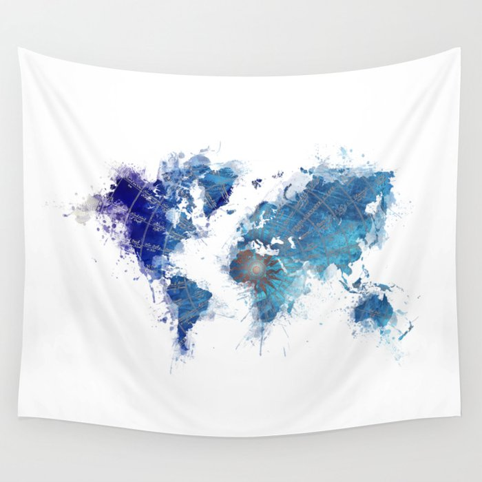 World Map Wind Rose splash Wall Tapestry