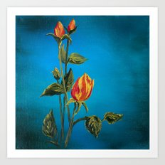 Tahitian Sunset Rose Buds Art Print