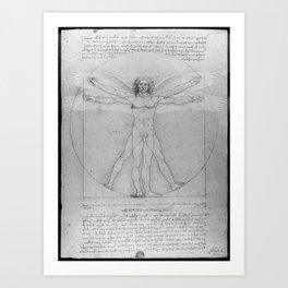 Leonardo da Vinci Vitruvian Man with Wings Study of Angels Art Print