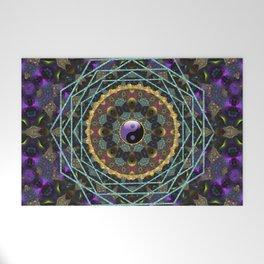 Purple Yin Yang Sacred Geometry Fractals Welcome Mat