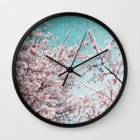 sakura Wall Clocks featuring Sakura by Iris Lehnhardt