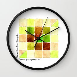 Color Chart - Quinacridone Burnt Orange DS and Phthalo Yellow Green DS Wall Clock