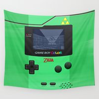 gameboy Wall Tapestries featuring Gameboy Color Zelda Triforce Logo by Veylow