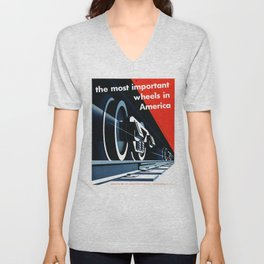 The Most Important Wheels in America Railroads Transport Vintage Poster Unisex V-Neck