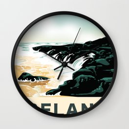 """Ireland """"For the Sea"""" vintage travel poster Wall Clock"""