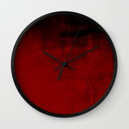 Abstract art in deep red Wall Clock