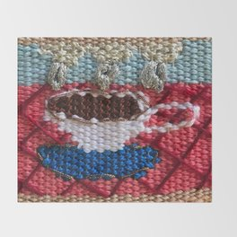 rain in my tea, rain in my coffee, tapestry, weaving, knitting, tea, coffee, tea cup, yarn, rain, Throw Blanket