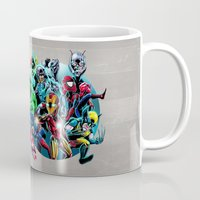 super heroes Mugs featuring Super Heroes by Carrillo Art Studio