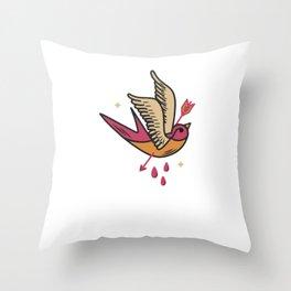 Anti Valentines Day Sawllow Cupid Love - Still Single - Retro Vintage Art Tattoo Design Throw Pillow