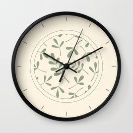 Green on Cream Assorted Leaf Silhouettes Wall Clock