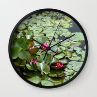 lotus flower Wall Clocks featuring Lotus by Melissa Schantz Photography