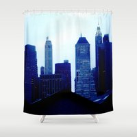 buildings Shower Curtains featuring City Buildings by J.Dancer
