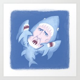 Nic Cage is Sharks! Art Print