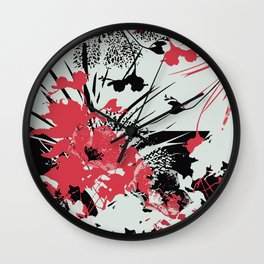 tropical flower silhouettes in red Wall Clock