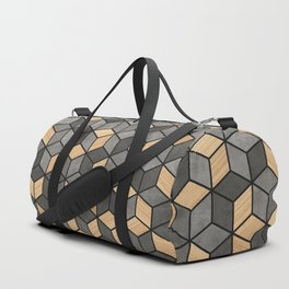 Concrete and Wood Cubes Duffle Bag