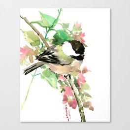 Chickadee and spring blossom Canvas Print