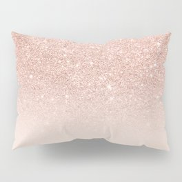 Rose gold faux glitter pink ombre color block Pillow Sham