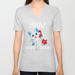 Cat Meow Were Talking Funny Cat on the Phone Unisex V-Neck