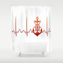 Sailor Heartbeat Shower Curtain