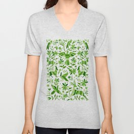Mexican Otomí Design in Green Unisex V-Neck