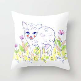 Curly Baby Deer Throw Pillow