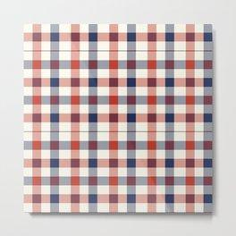 Plaid Red White And Blue Lumberjack Flannel Metal Print