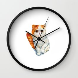 Cat, Animal Art, Orange Cat Print, Animal, Little Kitten, Kitten Art, Sad Cat, Orange And White Art Wall Clock