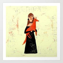 Lady & Fox Art Print