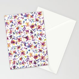 watery hibiscus flowers - Multicolored tropical pattern Stationery Cards