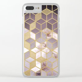 Shades Of Pink Cubes Pattern Clear iPhone Case