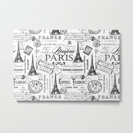 Vintage Paris Black And White Nostalgic Pattern Metal Print