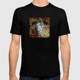 Fur texture Velvet Underground art-punk inspired Pitbull with floral in rich red and grey T-shirt