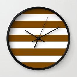 Dark bronze - solid color - white stripes pattern Wall Clock
