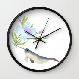 Narwhal Flowers Lavender Blue  Wall Clock