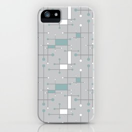 Intersecting Lines in Gray, Sea Foam and White iPhone Case
