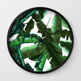 tropical banana leaves pattern 2 Wall Clock