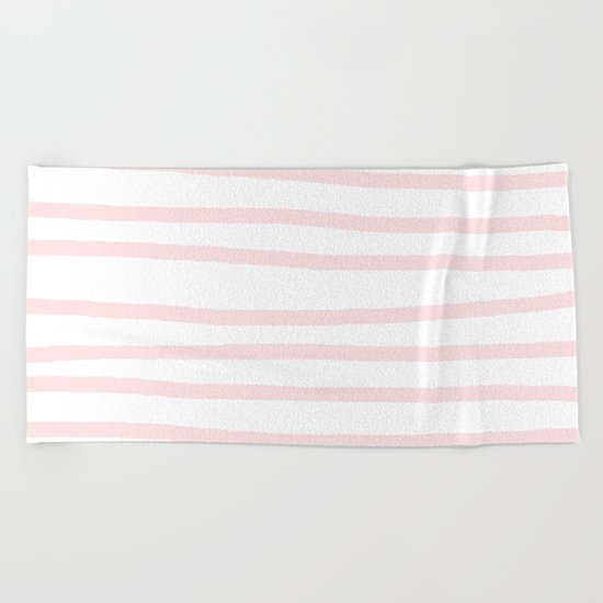 Simply Drawn Stripes in Pink Flamingo Beach Towel
