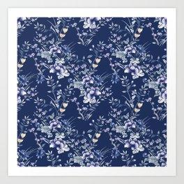 Chinoiserie Flowers Blue on Blue Art Print