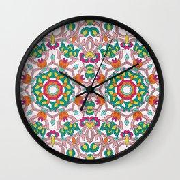 Colorful mandala on white background Wall Clock
