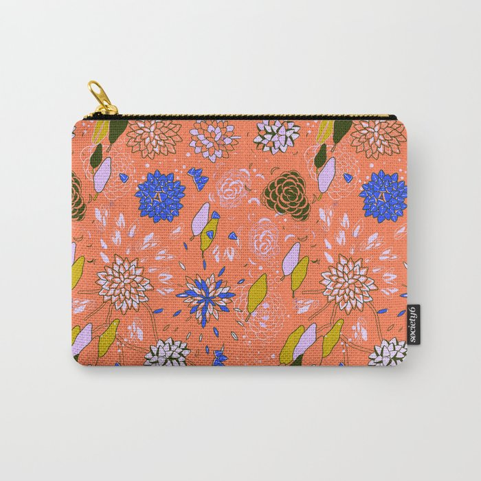 Orange Flower Pattern Carry-All Pouch