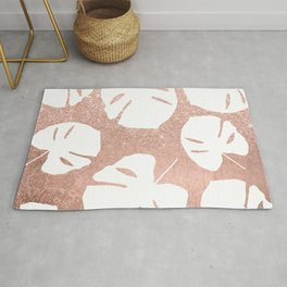 Tropical white monstera leaves on rose gold glitter ombre faux rose gold foil Rug